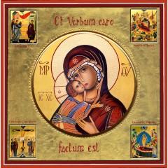 La Vergine di Vladimir con scene della vita 30x30 cm.
