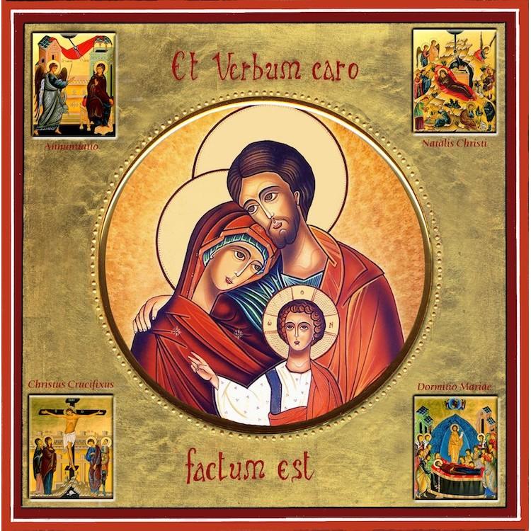 La Sacra Famiglia con scene della vita 30x30 cm.