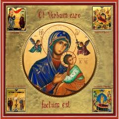 La Madonna del Perpetuo Soccorso con scene della vita 30x30 cm.