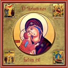 La Vergine della Tenerezza con scene della vita 30x30 cm.