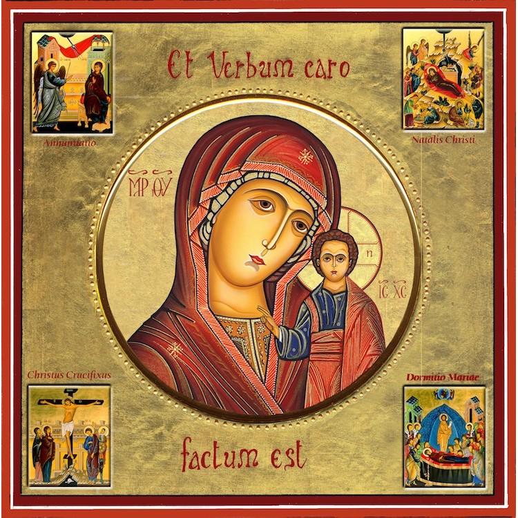 La Madonna di Kazan con scene della vita 30x30 cm.
