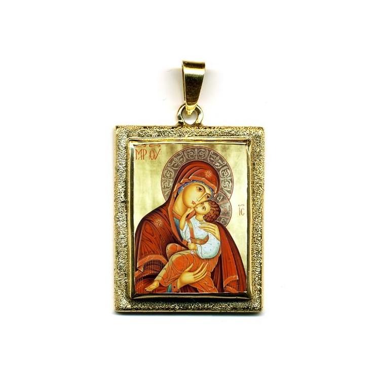 La Madonna dell' Incarnazione su Pendente in Oro 750°°°