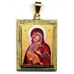 La Vergine di Vladimir su Pendente in Oro 750°°°