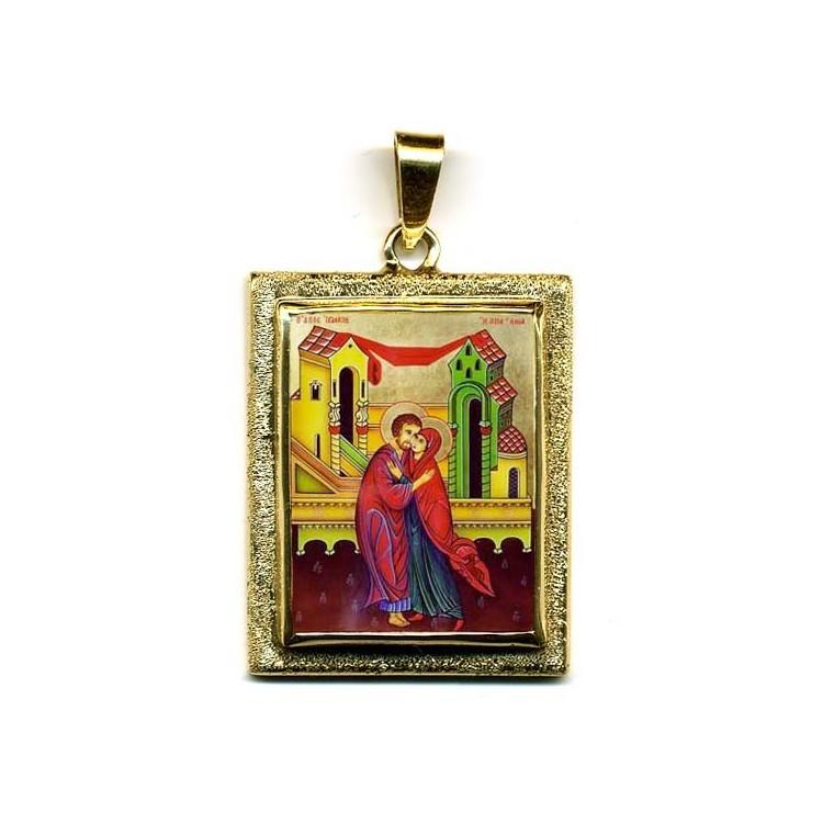 Sant' Anna e Gioacchino su Pendente in Oro 750°°°