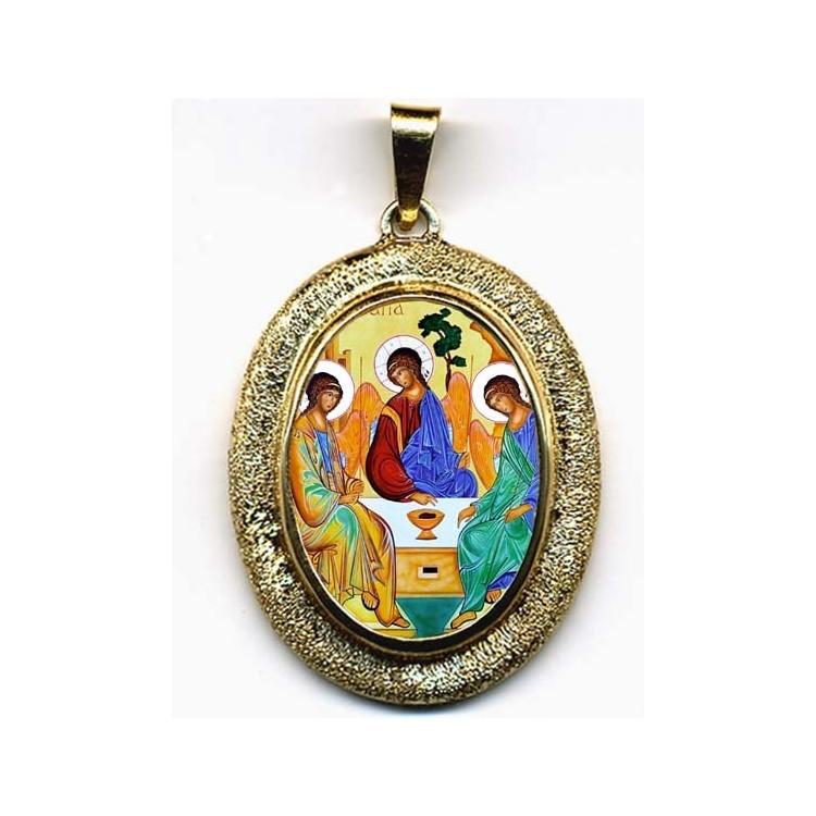 La SS Trinità su Pendente Ovale in Oro 750°°°
