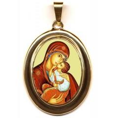 La Madonna dell' Incarnazione su Pendente Ovale in Oro 750°°°