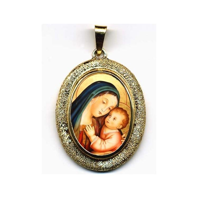La Madonna del Buon Consiglio su Pendente Ovale in Oro 750°°°
