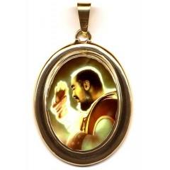 San Pio da Pietrelcina su Pendente Ovale in Oro 750°°°