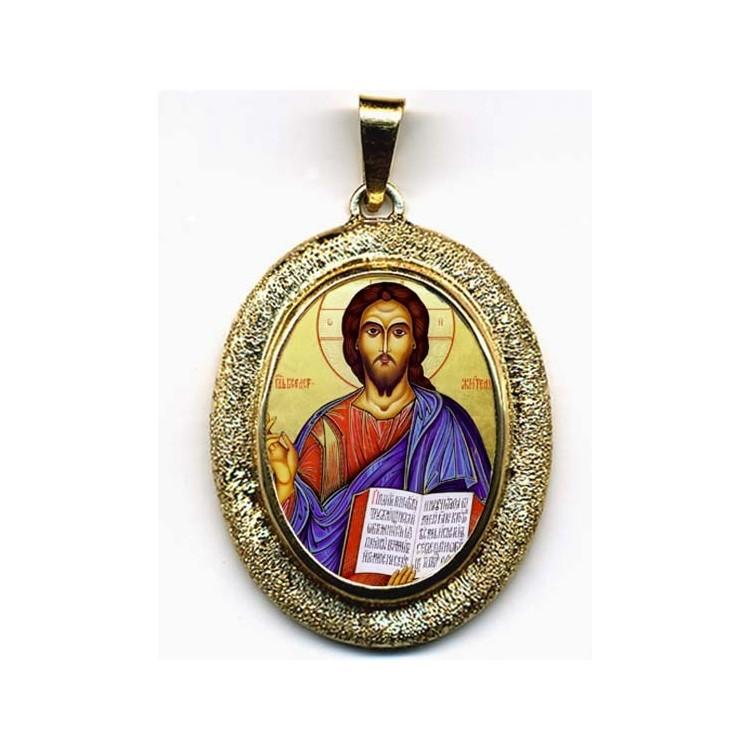 Cristo Pantocrator su Pendente Ovale in Oro 750°°°