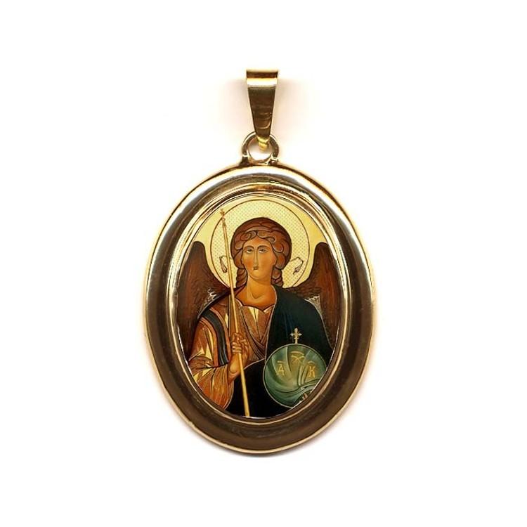L' Arcangelo Michele su Pendente Ovale in Oro 750°°°