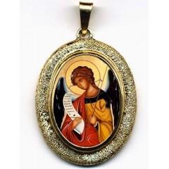 L' Arcangelo Gabriele su Pendente Ovale in Oro 750°°°