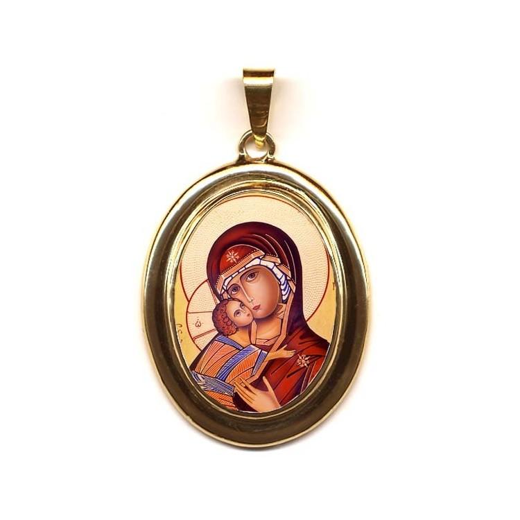 La Vergine di Vladimir su Pendente Ovale in Oro 750°°°