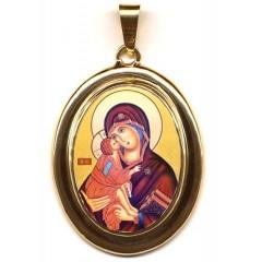La Vergine della Tenerezza su Pendente Ovale in Oro 750°°°