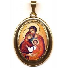 La Sacra Famiglia su Pendente Ovale in Oro 750°°°