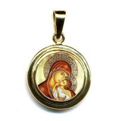 La Madonna dell' Incarnazione su Pendente Tondo in Oro 750°°°