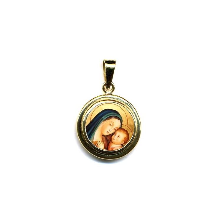 La Madonna del Buon Consiglio su Pendente Tondo in Oro 750°°°