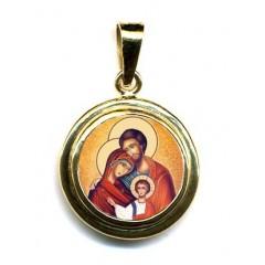 La Sacra Famiglia su Pendente Tondo in Oro 750°°°