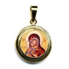 La Vergine di Vladimir su Pendente Tondo in Oro 750°°°