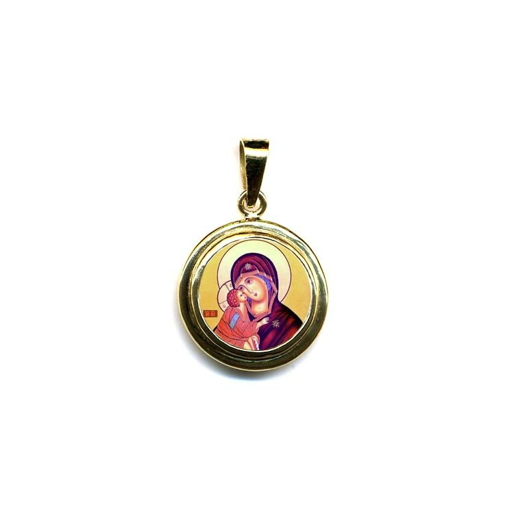 La Vergine della Tenerezza su Pendente Tondo in Oro 750°°°