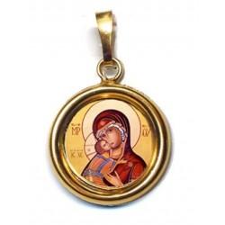 La Vergine di Vladimir su Ciondolo in Argento 925°°° Lucido o Diamantato