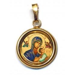 La Madonna del Perpetuo Soccorso su Ciondolo in Argento 925°°° Lucido o Diamantato