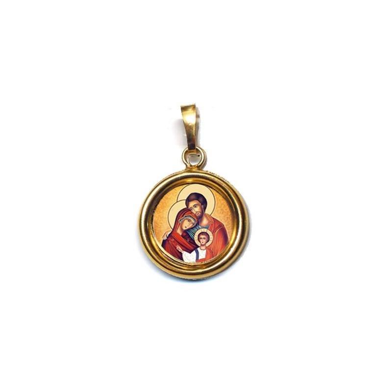 La Sacra Famiglia su Ciondolo in Argento 925°°° Lucido o Diamantato