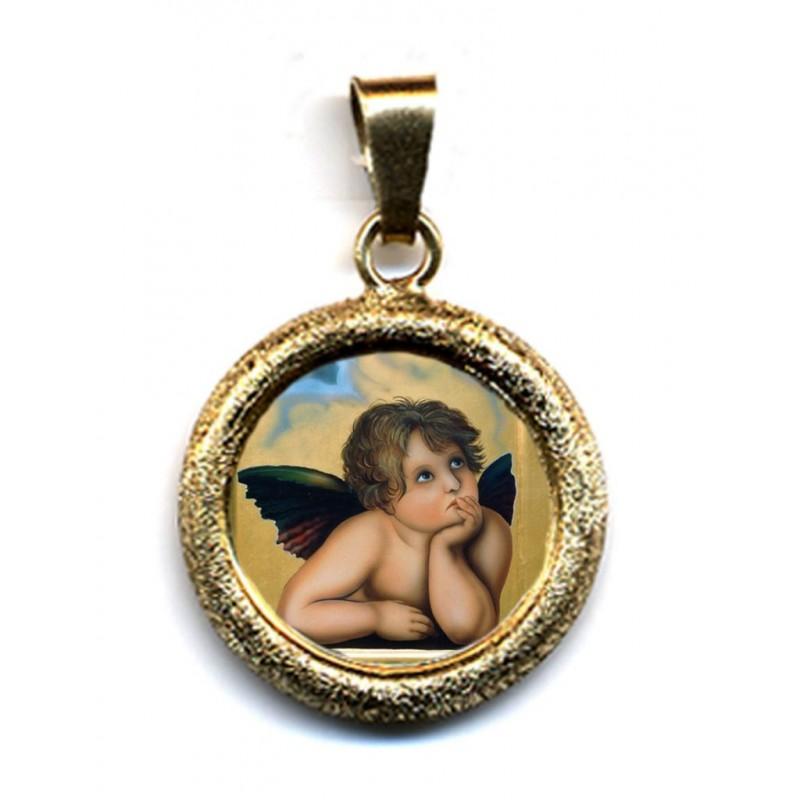 Angioletto su Ciondolo in Argento 925°°° Lucido o Diamantato