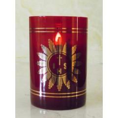 Vetro rosso rubino per Santissimo ø 80x115 mm. a pila