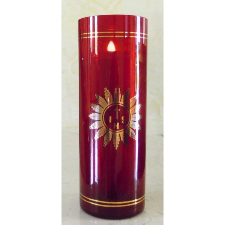 Vetro rosso rubino per Santissimo ø 80x210 mm. a pila