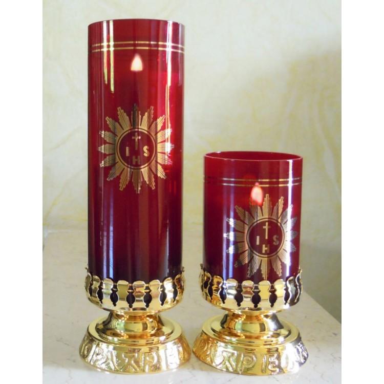 Vetro rosso rubino per Santissimo a pila con Base Dorata