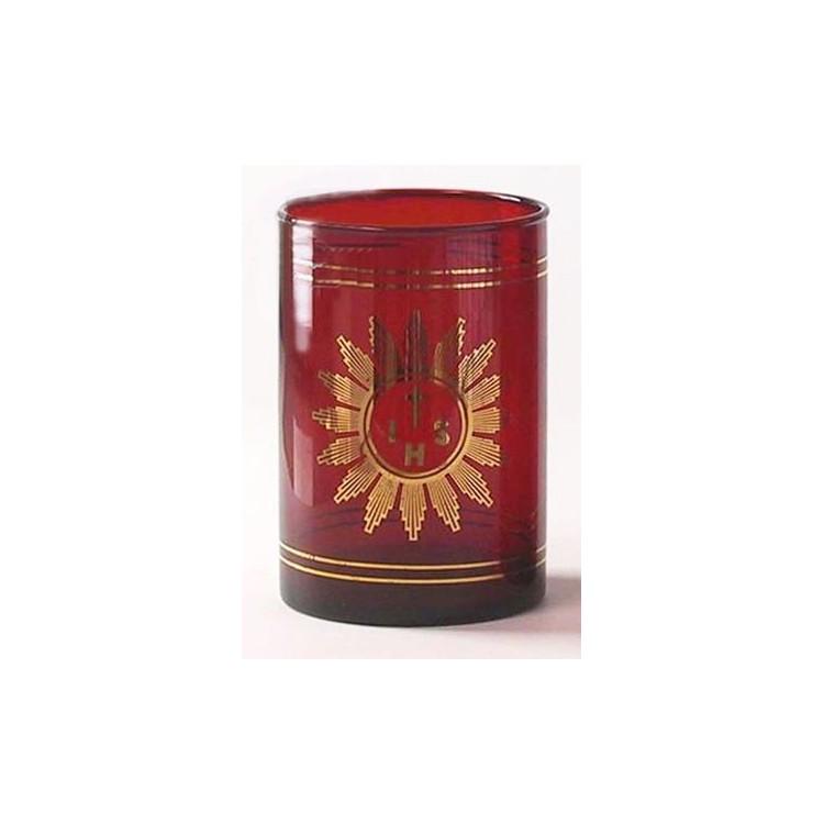 Vetro rosso rubino per Santissimo ø 80x115 mm.