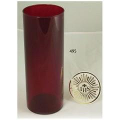 Vetro rosso rubino per Santissimo ø 85x210 mm. con decoro