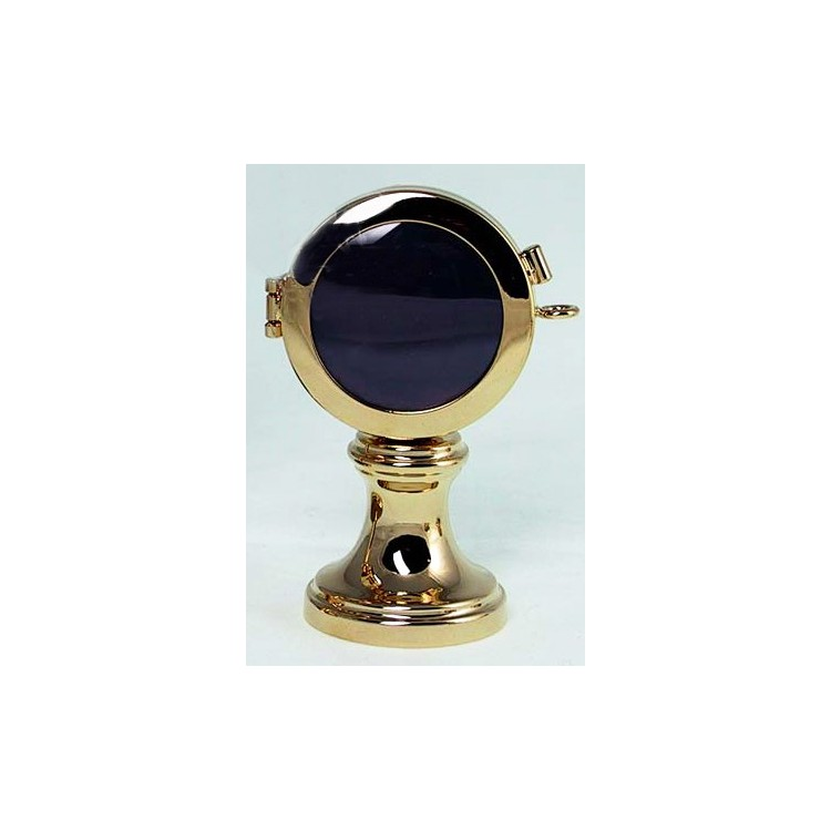 Reliquiario su basetta ottone dorato cm. 5,5x9,5