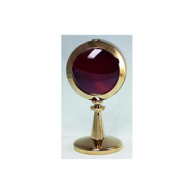 Reliquiario a mostranza su basetta ottone dorato ø 8 x16 cm.