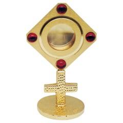 Reliquiario in ottone dorato con Croce teca da 3 cm.