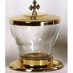 Vasetto oli santi per altare con incisione