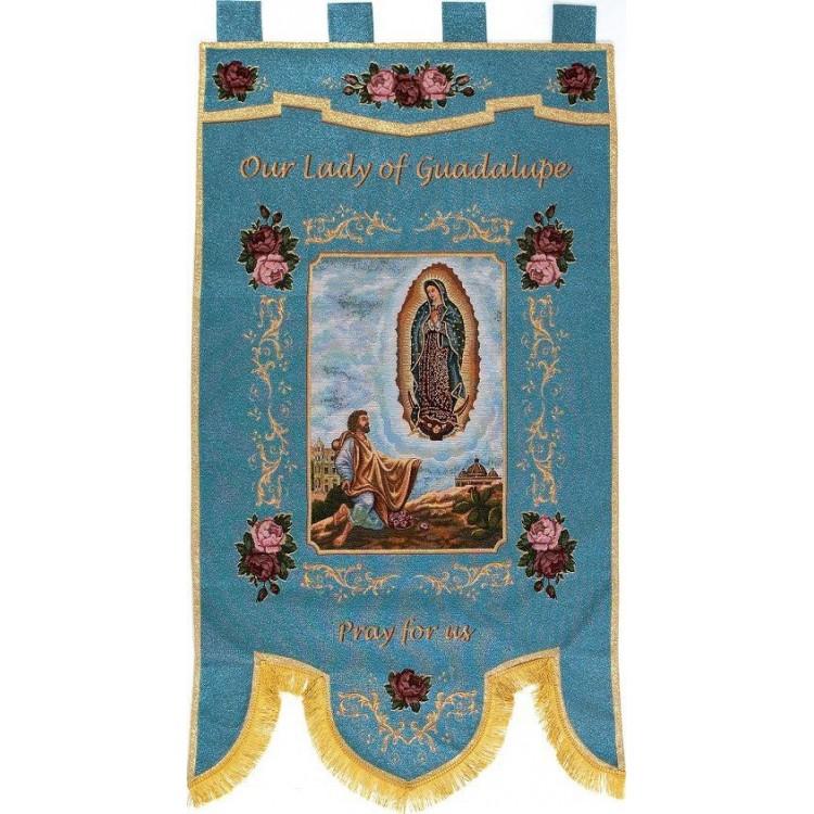 """Stendardo """" Madonna di Guadalupe e S. Diego """""""