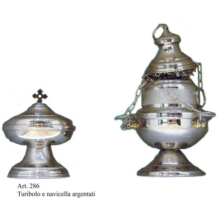 Turibolo h. 22 cm. e Navicella con finitura Argentata