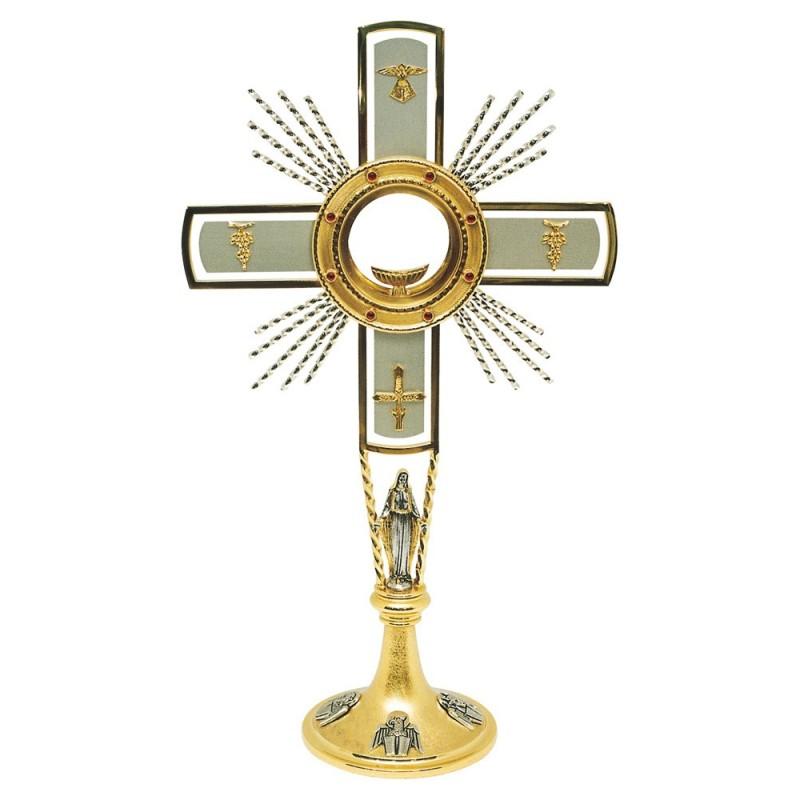 Ostensorio con Evangelisti, Madonna, uve, spighe e colomba h. 60 cm. in Ottone Bicolore