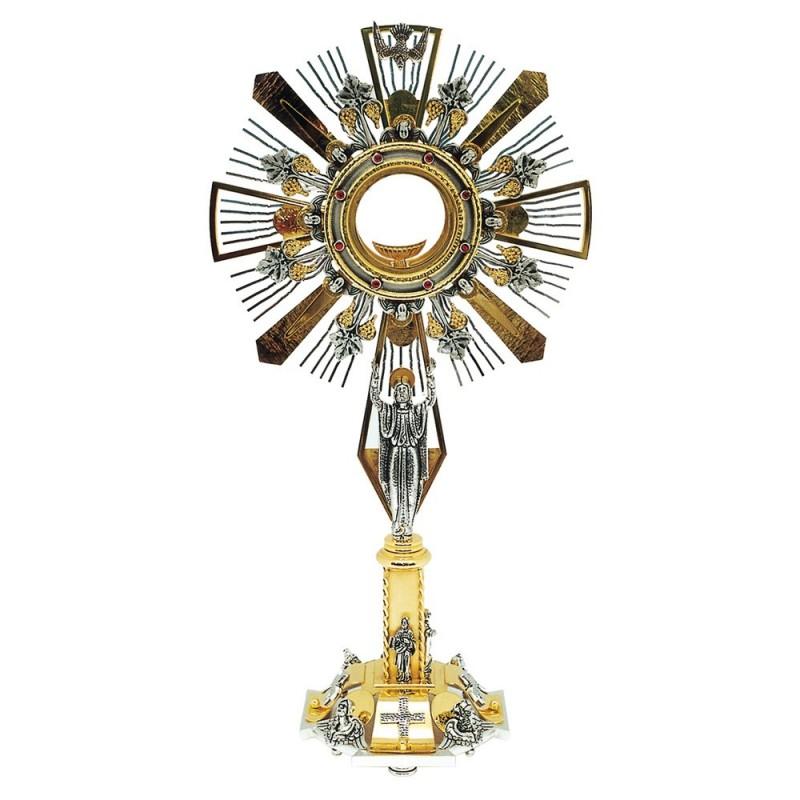 Ostensorio con Evangelisti h. 60 cm. in Ottone Bicolore