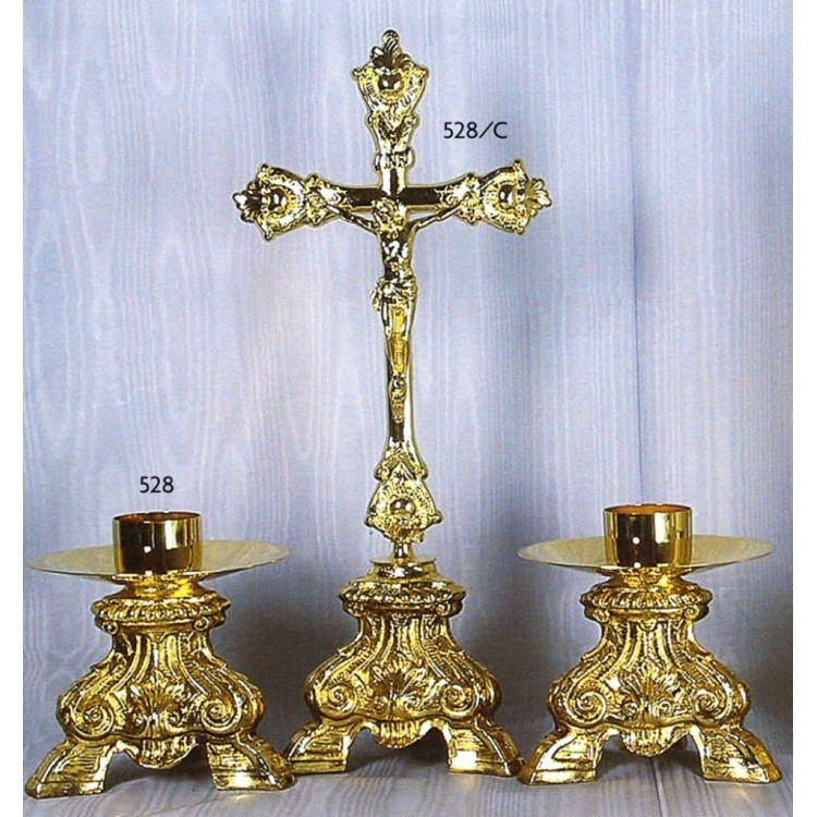 CANDELIERE e Croce in fusione Barocco Ricco