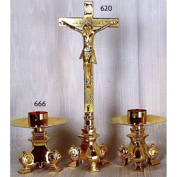 CANDELIERE e Croce con base Barocca in fusione Dorata