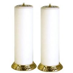 Coppia Candelieri con finta candela da 8 x25 cm.