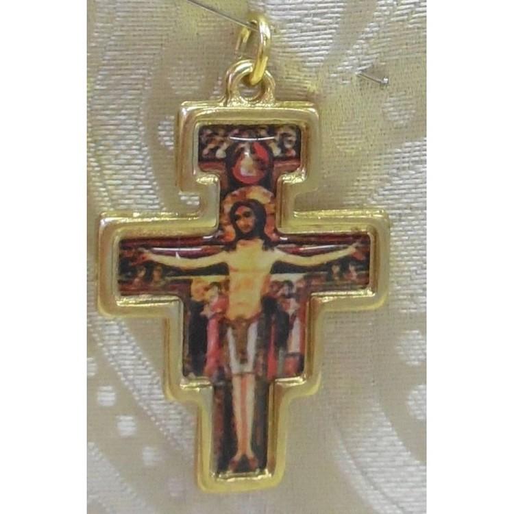 Ciondolo Croce San Damiano in metallo dorato misura 3,5 cm.