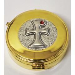 Scatola Porta OSTIE dorata con cerniera, misura ø 8,4x2,5