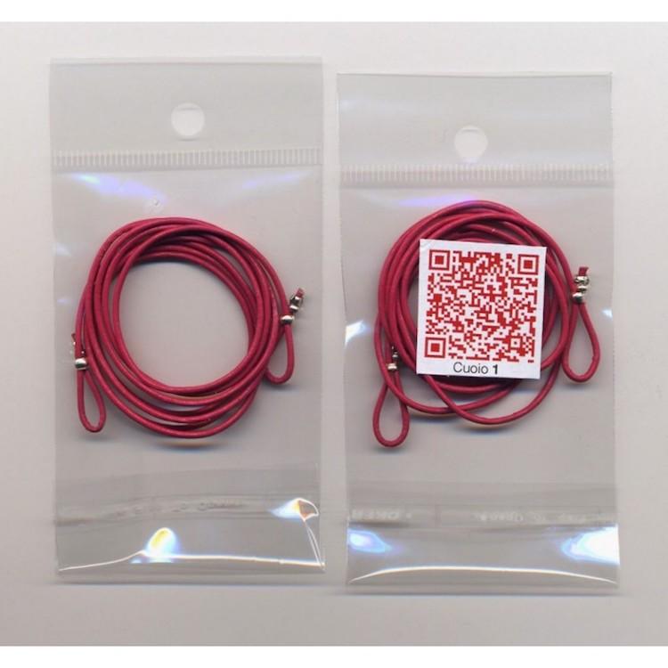 Cordoncino per OCCHIALI in vero CUOIO colore ROSA da 1 mm. x 80 cm