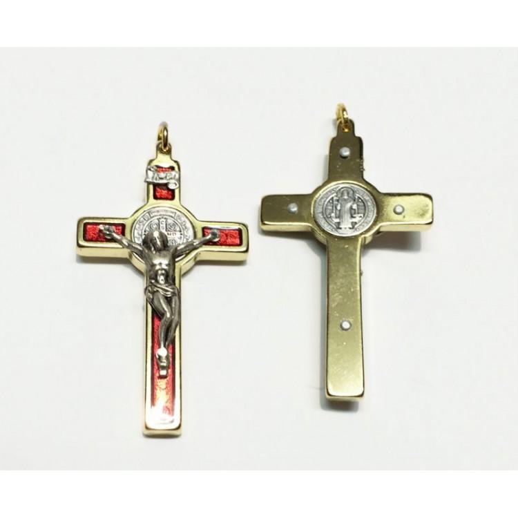 Croce di SAN BENEDETTO ROSSA da 60x33 mm