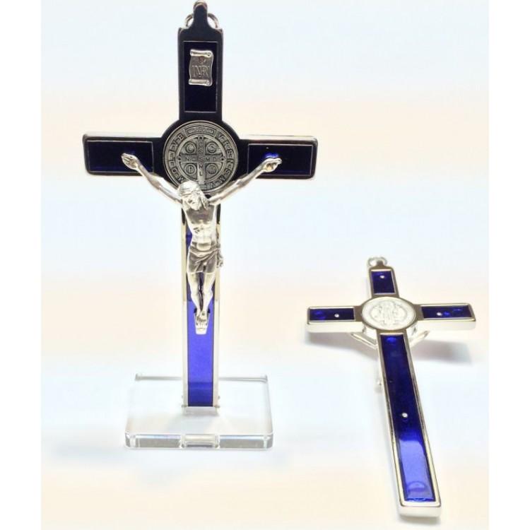 Croce di SAN BENEDETTO in Metallo smalto BLU due misure da Tavolo o Muro