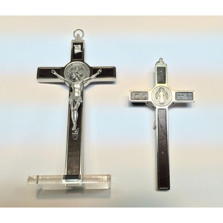 Croce di SAN BENEDETTO in Legno in due misure da Tavolo o Muro