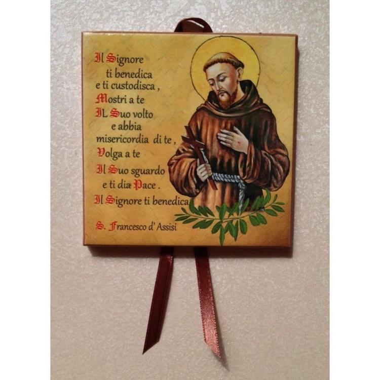 Mattonella Benedizione di Francesco cm.10x10 con fiocco